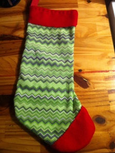 Hand sewn cabin Christmas stockings